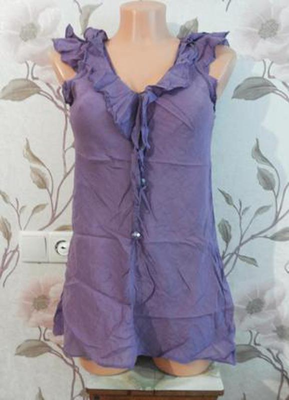 Фиолетовая нежная блузка с рюшами воланами с/с-м