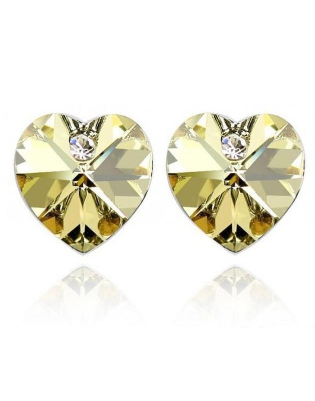 🏵️ювелирные серьги с кристаллами сердце, новые! арт. 8300