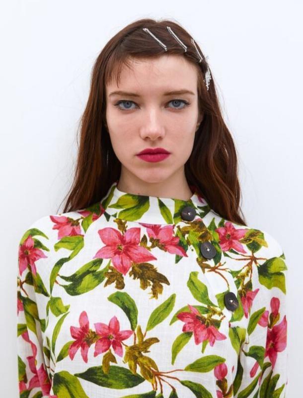 Льняная рубашка цветочный принт zara