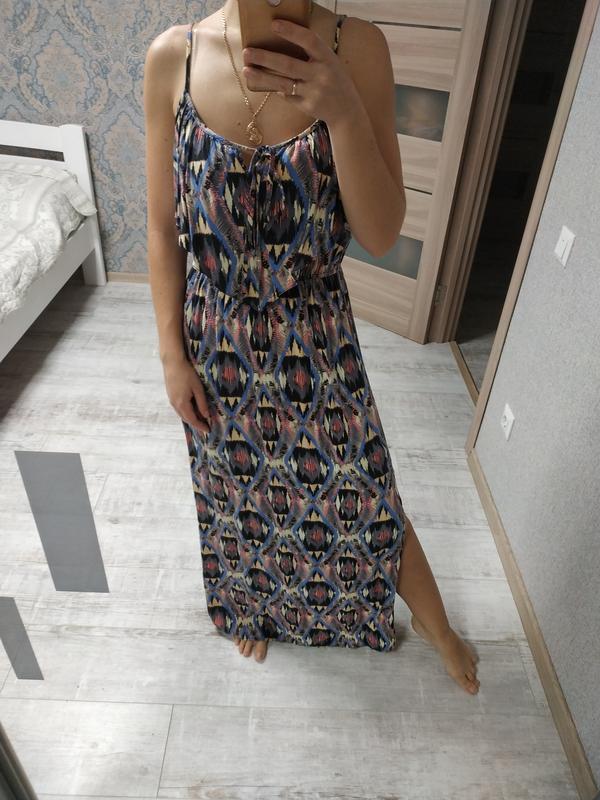 Красивое летнее длиное платье в пол с рюшей