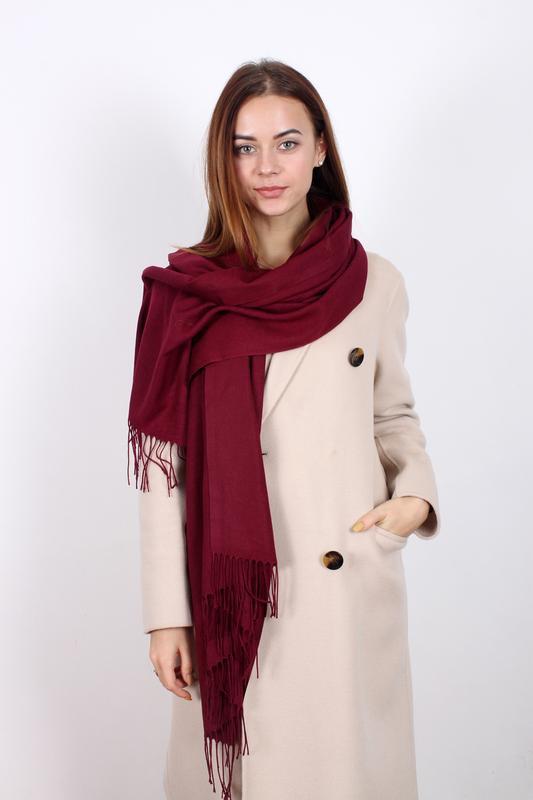Палантин бордовый шарф однотонный