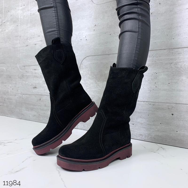 Зимние замшевые ботинки на низком ходу,чёрные полусапожки из н...