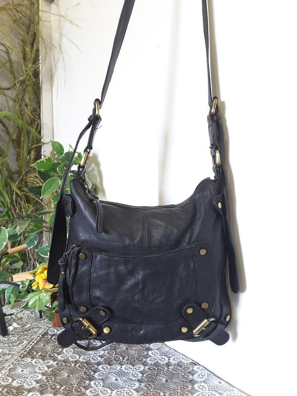 Черная сумка кроссбоди натуральная кожа