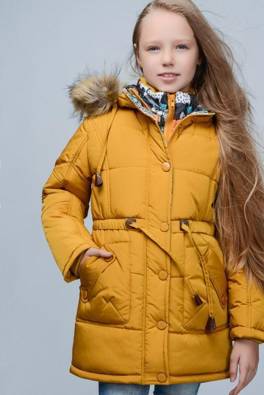 Парка для девочки (пальто) woyz горчичного цвета