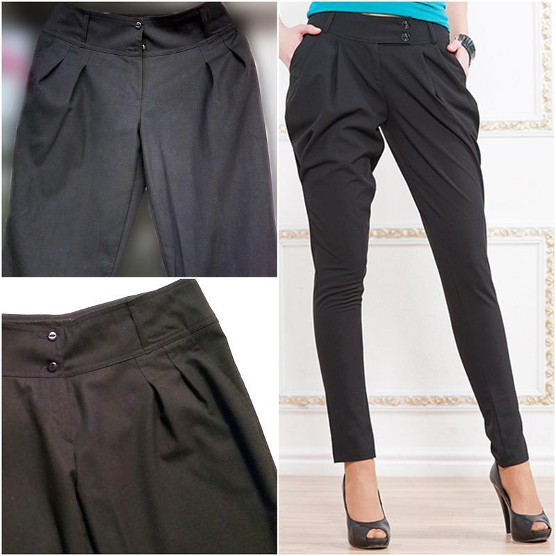 Классические брюки черные с широким поясом, зауженные к низу ж...