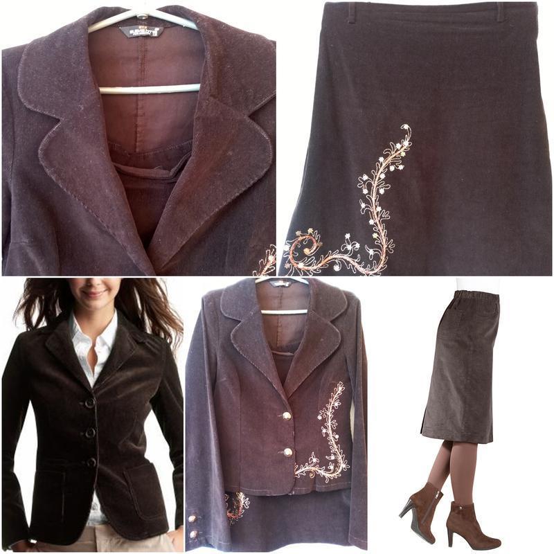 Коричневый вельветовый пиджак жакет  р. 46-48
