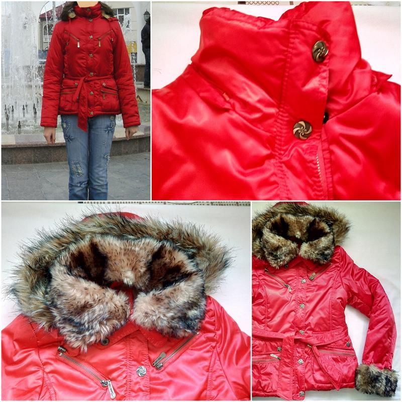 Красная теплая демисезонная куртка (размер s-42-44)