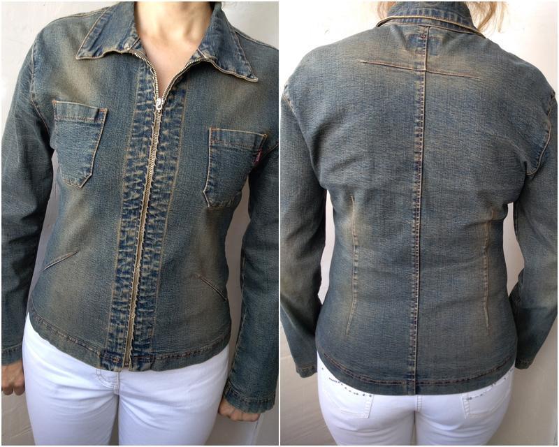 Стильная джинсовая куртка стрейч sensor  р.46-48 пиджак