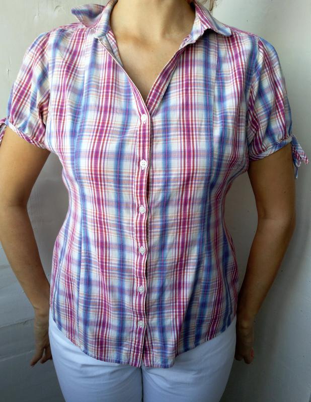 Женская рубашка блуза в клетку с коротким рукавом  р.48