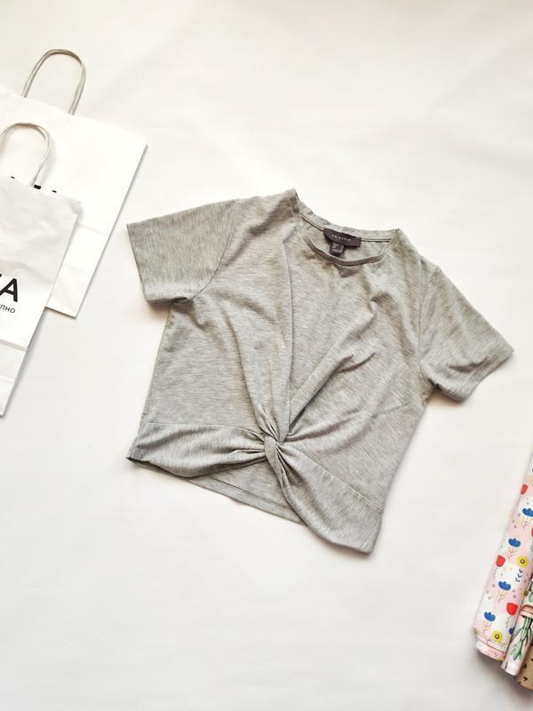 Серая укороченная футболка с завязкой на талии primark