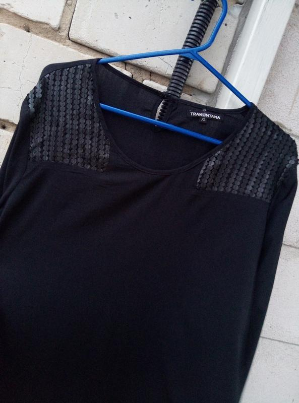 Вискозная блуза c кожаными вставками большого размера  раз.xl ... - Фото 6