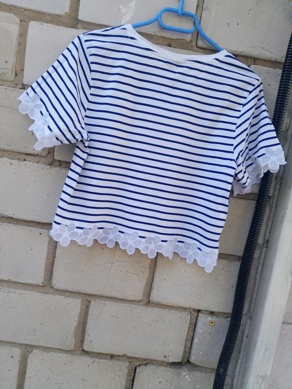 Стильная коттоновая блуза-топ в полоску раз. м - Фото 6
