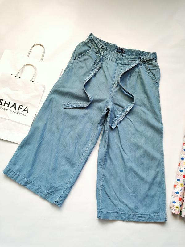 Стильные джинсовые кюлоты с резинкой на талии поясом marks&spe...