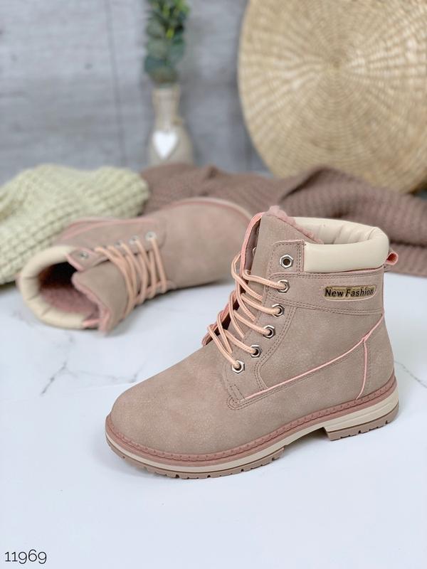 ❤ женские пудровые зимние  ботинки сапоги полусапожки ботильон...