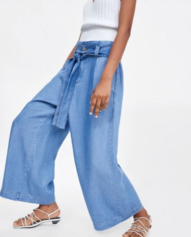 Zara джинсовые модные брюки/ кюлоты с карманами