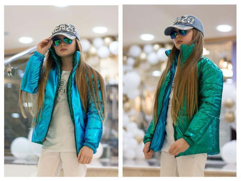 Двухсторонняя демисезонная курточка серебро-голубой для девочки