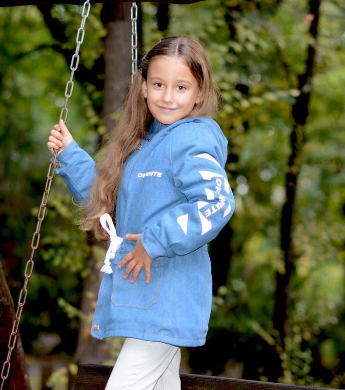 Детская джинсовая парка на меху джинсовая куртка с капюшоном г...