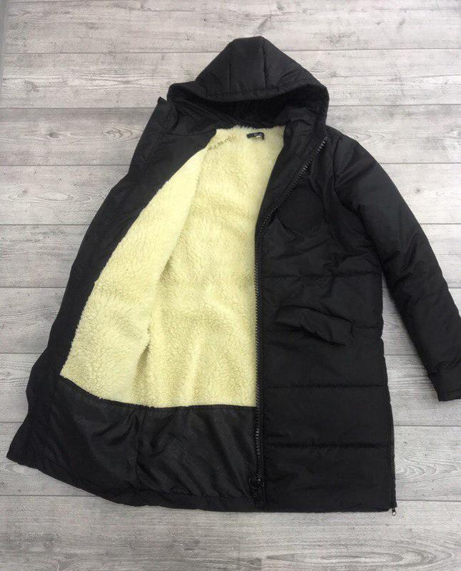 Мужское зимнее куртка пальто на синтепоне и овчине черный