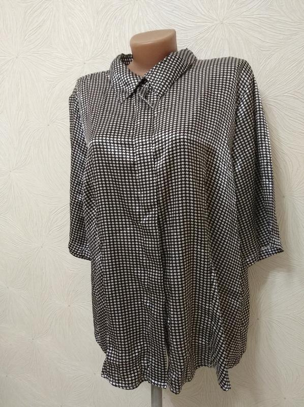 Атласная блуза гусиная лапка тренд черно-белая