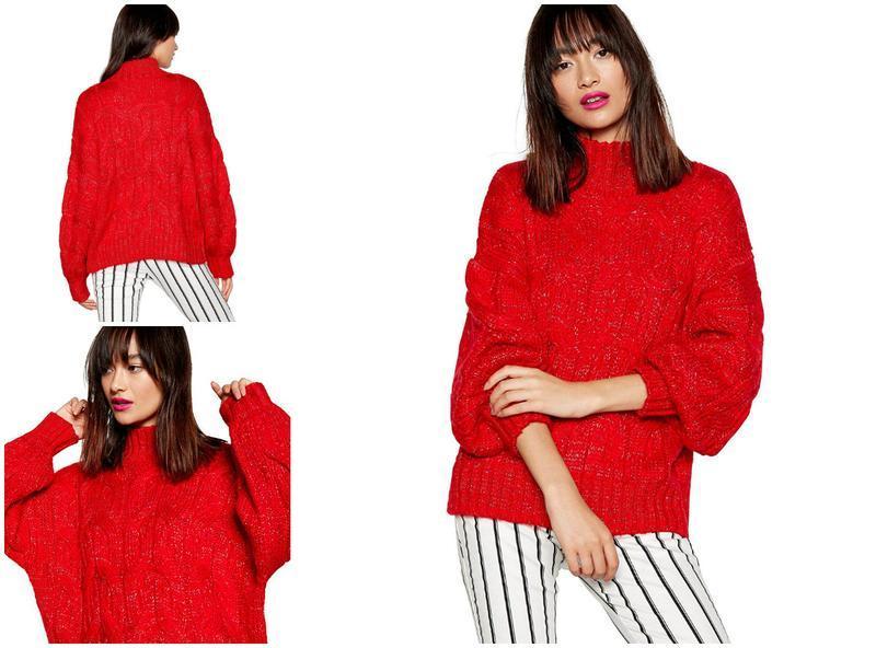 Брендовый красный оверсайз свитер свитшот теплый