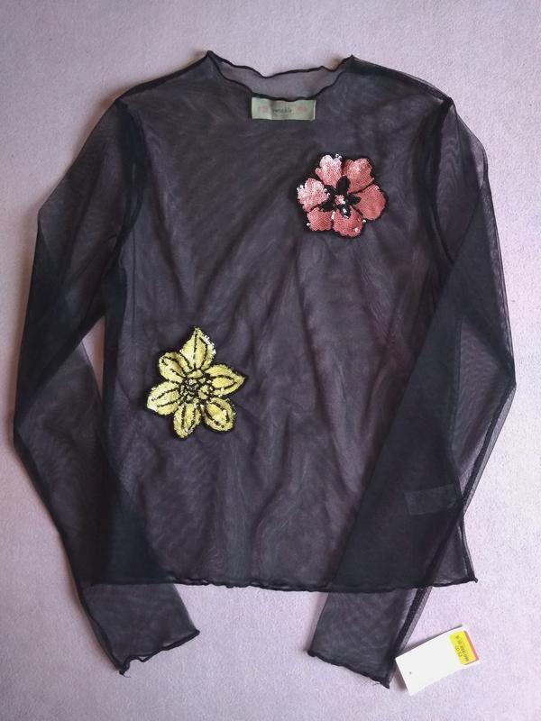Прозрачная блуза сетка с аппликацией цветы в пайетках twinkle