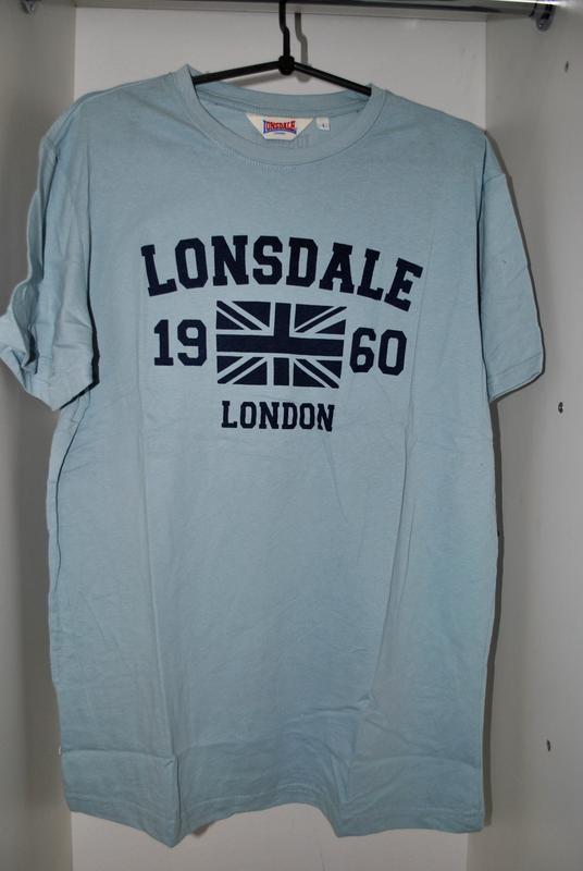 Футболка мужская новая! lonsdale l голубая брендовая