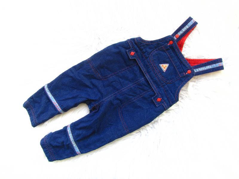 Крутой утепленный джинсовый полукомбинезон canaru