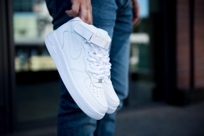 Nike air force 1 hi white, мужские стильные белые кроссовки на...