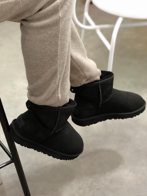 Ugg classic mini black, женские зимние замшевые угги/уги