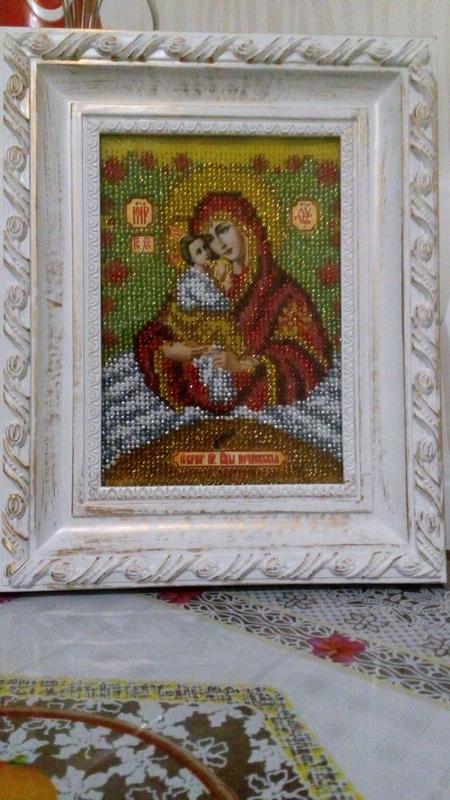 Почаевская икона Божьей Матери вышита бисером - Фото 2