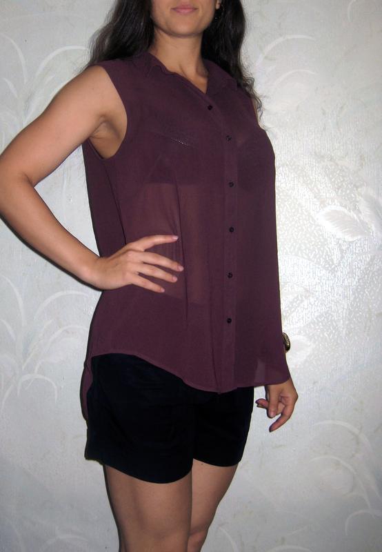 Рубашка h&m бордовая тёмная без рукавов