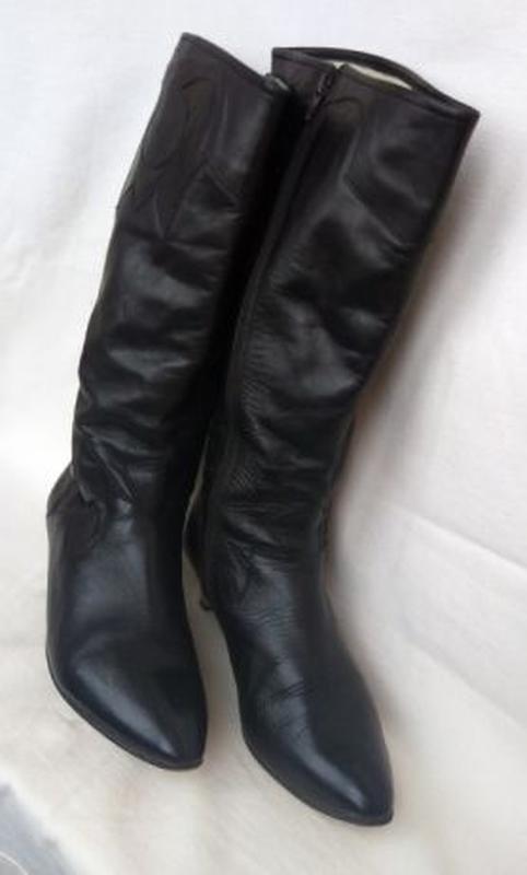 Кожанные, женские демисезонные сапоги –р. 39_високі чоботи шкі...