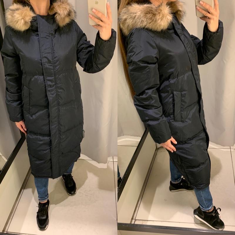Тёплый синий пуховик зимняя куртка reserved есть размеры
