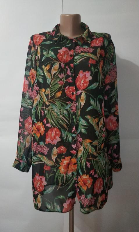 Блуза рубашка цветочная красивая туника primark uk 14/42/l