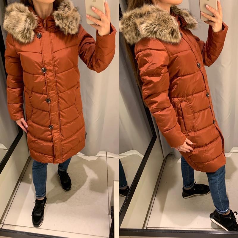 Стеганое пальто карамельного цвета куртка курточка reserved ес...