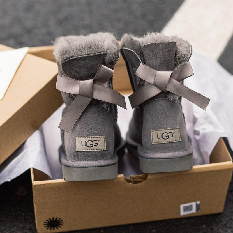 Ugg bailey bow gray! женские замшевые зимние угги/ сапоги/ бот...