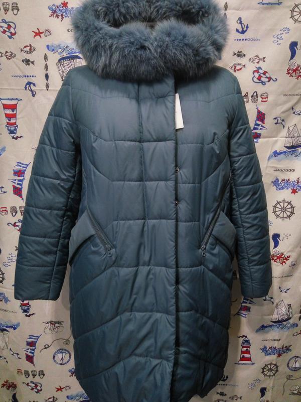 Красивое зимнее пальто полупальто куртка с натуральным мехом