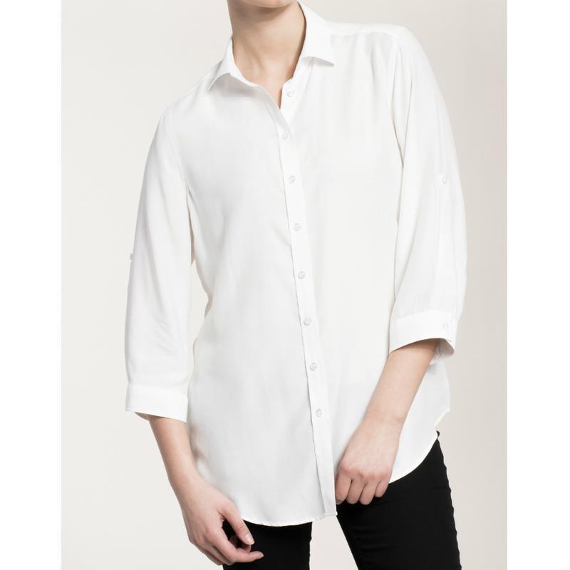 Стильная белая блуза рубашка, рукав 3/4 uk 20