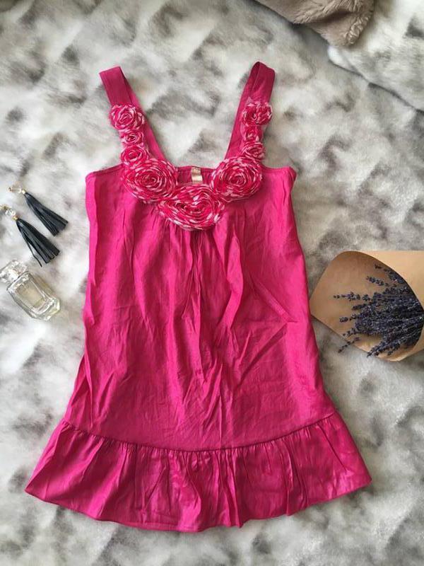 Блуза туника малиновая с цветами нарядный топ yippee apparel н...