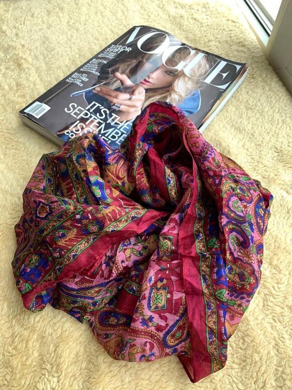 Красивый шелковый индийский шарф платок 100% шелк новый год по...