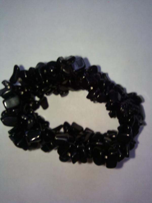 Широкий браслет из черного агата