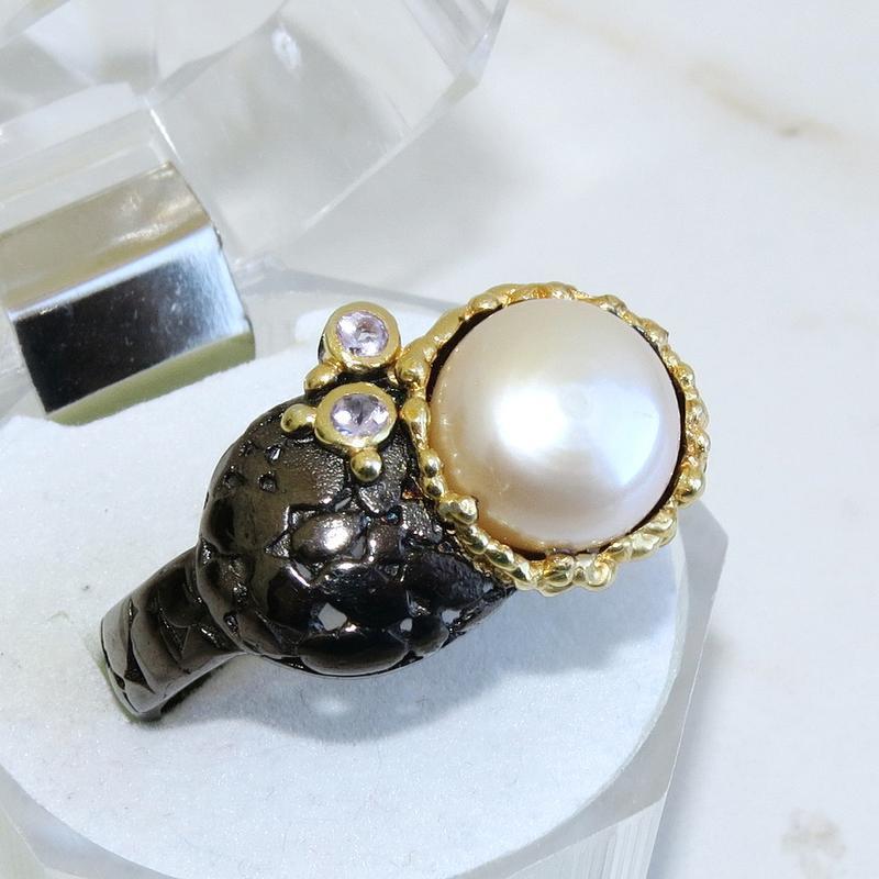 Кольцо с жемчугом, серебро 925, р.18