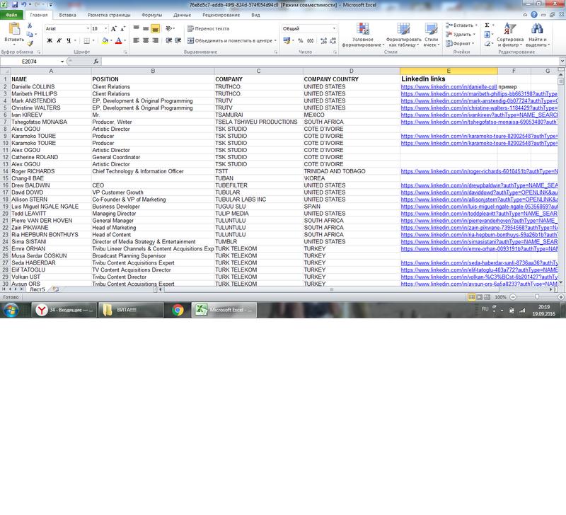 Ввод данных в таблицу Exel