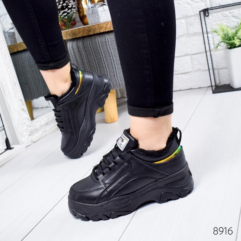 ❤ женские черные зимние кроссовки  ботинки сапоги полусапожки ...