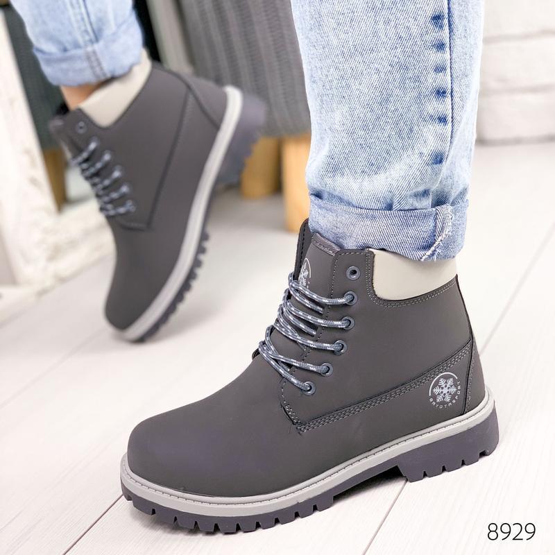 ❤ женские серые зимние ботинки сапоги полусапожки ботильоны на...