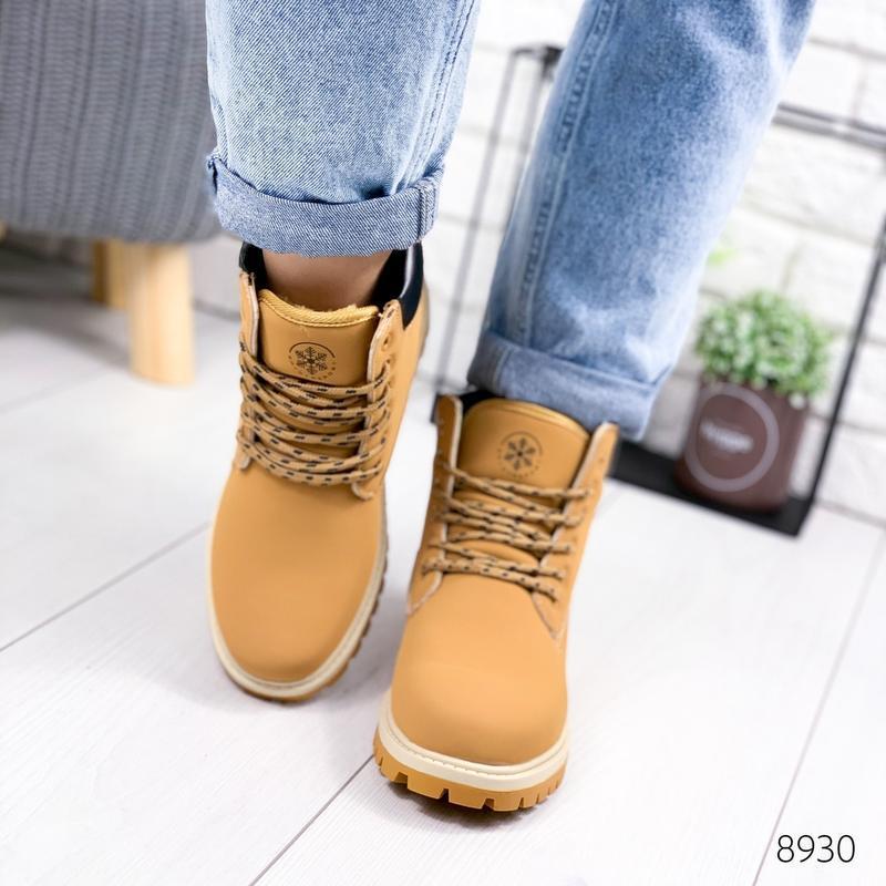 ❤ женские коричневые зимние ботинки сапоги полусапожки ботильо... - Фото 2