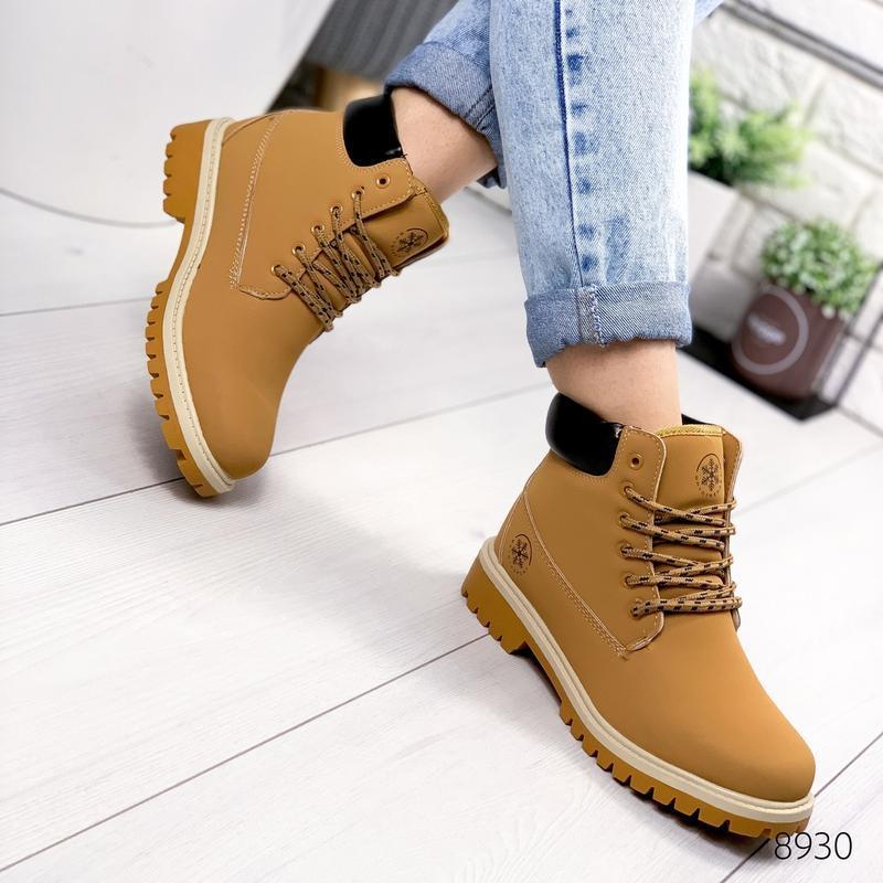 ❤ женские коричневые зимние ботинки сапоги полусапожки ботильо... - Фото 3