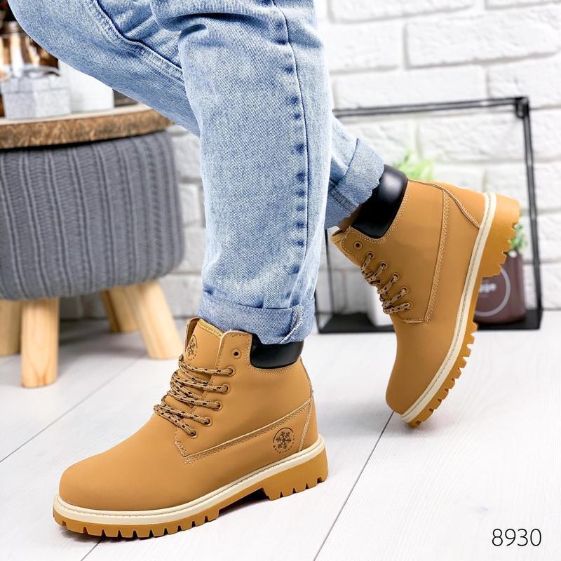 ❤ женские коричневые зимние ботинки сапоги полусапожки ботильо... - Фото 4