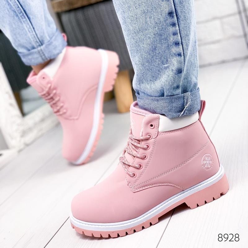 ❤ женские розовые зимние ботинки сапоги полусапожки ботильоны ...