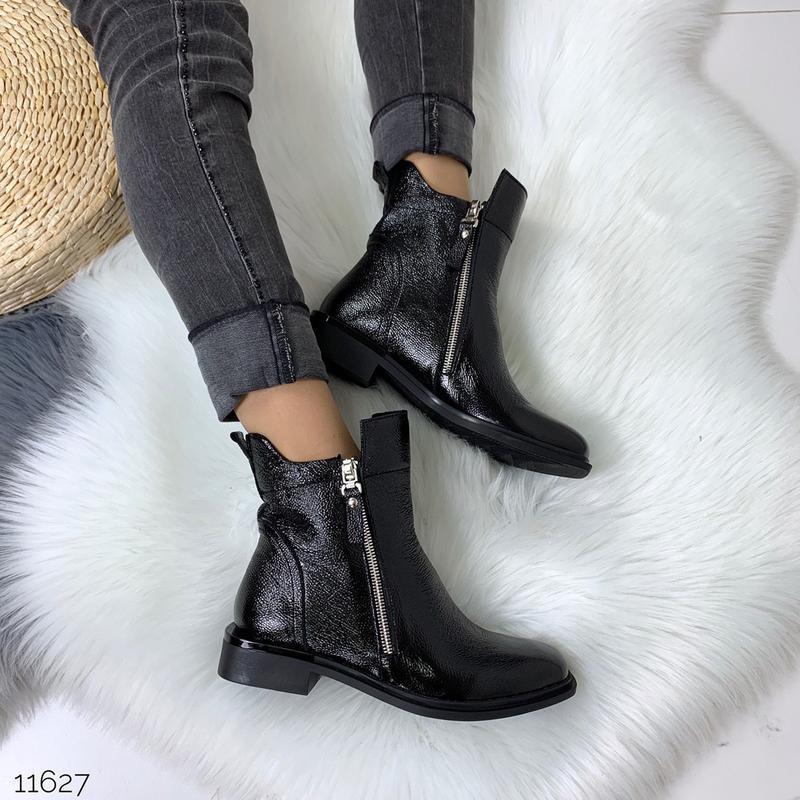 Зимние ботинки из натуральной лаковой кожи - Фото 8